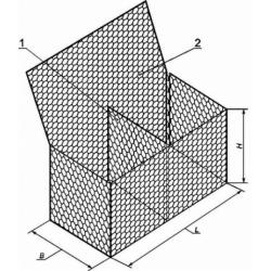 Коробчатый габион 2x1x0,5 покрытие цинк+пнд